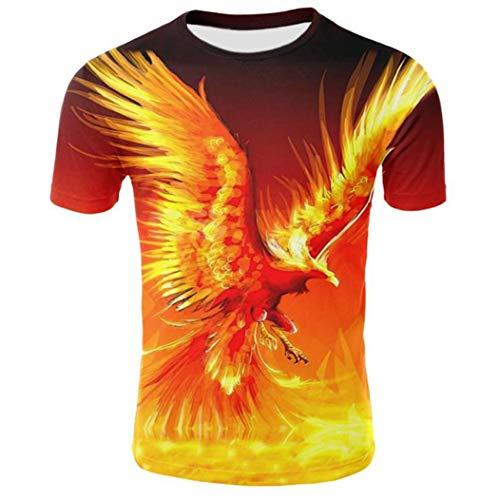 Neuheit 3D Print Phoenix lustige T-Shirts Kurzarm für Männer Casual T-Shirt mit Rundhalsausschnitt XS