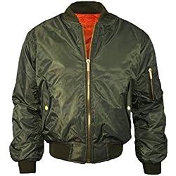 Chaqueta para mujer MA1Bomber Classic Zip Up chaqueta acolchada estilo Vintage Biker Chick verde caqui 10 / Small