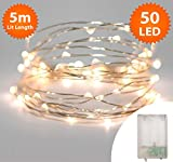 Fairy Lights 50 Micro LED 5m Warm White Indoor Christmas Lights Festive Wedding Bedroom Novelty Decorations Tree String Lights Battery Powered 16ft Lit Length Silver