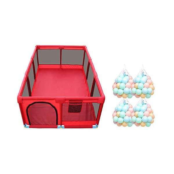 Playpens 10 Panel - Large Children Anti-collision Game Fence ,Portable Twin Crawling Area/Ball Pool (color : Playpen+200ball) Playpens  1