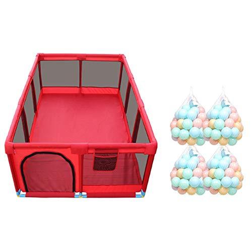 RENJUN Playpens 10 Panel Large Kinder Antikollisionsspiel Zaun Portable Twin Krabbeln/Ball Pool Matratze (Color : Playpen+200ball) -