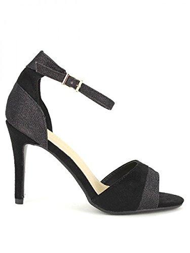 Cendriyon, Escarpin Noir Bi matière KINATA Mode Chaussures Femme Noir