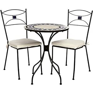gartenm bel set mosaik optik eisen 3 teilig bistro set outdoor gartenst hle. Black Bedroom Furniture Sets. Home Design Ideas