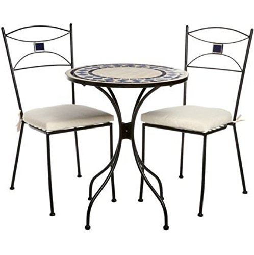 NEW 3PC IRON MOSAIC FURNITURE BISTRO SET OUTDOOR GARDEN TABLE CHAIRS PATIO FREE CUSHIONS INCLUDED