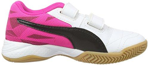 Puma Veloz Indoor Iii V Jr, Chaussures de Fitness Mixte Enfant Blanc - Weiß (White-Black-Pink Glo 03)