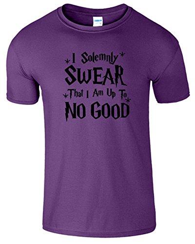 I Solemnly Swear Herren Kinder Harry Potter Crew Neck Top Tee lila (Purple) / Schwarz Design