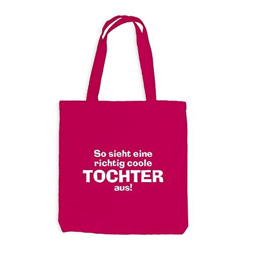 Jutebeutel - Richtig Coole Tochter - Geschenk Pink