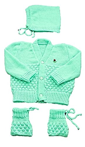 Montu Bunty Wear New Born Baby Woolen Knitted Baby Set (3Pcs Suit)