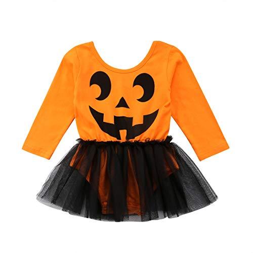 Halloween Kostüm Fedex - BriskyM Neugeborenes Baby Halloween-Kürbis-Ballettröckchen-Spielanzug-Bodysuit-langes Hülsen-Kleid-Einteilige Ausstattungs-Säuglingskleidung (Orange, 12-18m)