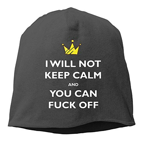 eee018d048c DHNKW Keep Calm and FCK Off Winter Beanie Skull Cap Warm Knit Ski Slouchy  Hat Durable