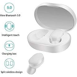 Xiaomi Airdots Bluetooth Auriculares ,Hongtianyuan Auriculares estéreo Bluetooth V5.0, Encendido/Apagado automático, Conversación binaural,Cargador portatil Auriculares de Alta fidelidad (Blanco)