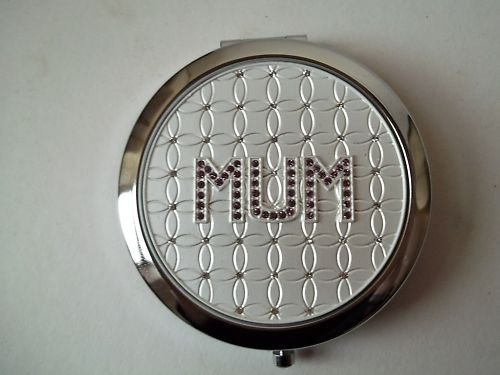 Diamante Compact (Mother's Day Gift! Pretty Sparkly Purple Diamante MUM Design Compact Mirror in an Attractive Black & Silver Gift Box From the Leonardo Collection. Lovely Gift for Mum! by Something Different)