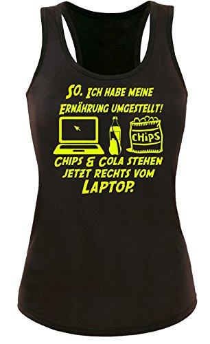 Ich habe Ernährung umgestellt! Chips und Cola stehen jetzt Rechts vom Laptop. - Damen Tanktop Schwarz/Neongelb