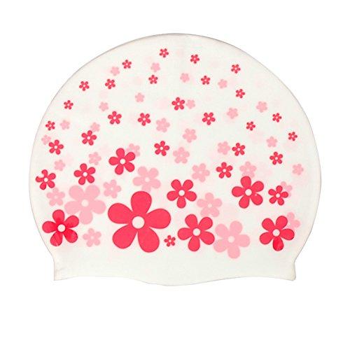 Moolecole Badekappe, niedlichen Cartoon, Boy / Girl, wasserdicht, elastisch, Kunststoff, rosa