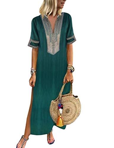 HAHAEMMA Damen Kleider Maxikleid Lose Kleid Langarm Retro Leinen Baumwolle Lange Kleider Elegante GRuse Breite LBiläufige Sommerkleider Damen Plus GRöße(GR,5XL) (Größe Plus Chiffon-kleid)