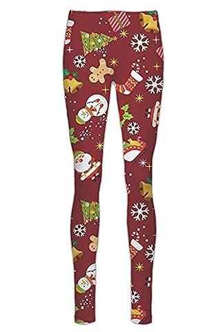 Women Ladies Girls Seasonal Festive Santa Rudolph Tree Gingerbread Penguin Full Length Xmas Legging Pants