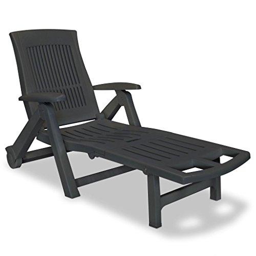 Tidyard Sonnenliege mit Fußablage Klappbar Gartenliege Liegestuhl mit 2 Rollen Kunststoff Außenbereich Relaxliege 5-Fach Verstellbar Rückenlehne 72 x 195 x 101 cm Farbauswahl