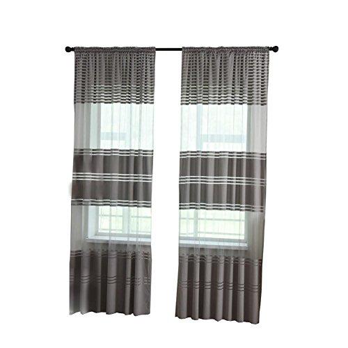 LCLrute Vorhang 270cm x 100cm Blätter schiere Vorhang Tüll Fenster Behandlung Voile Drape Valance 1 Panel Stoff (Grau) (Stoff Schiere Schmetterling)