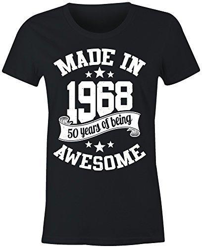 6TN Mujer Hecho en 1968 50 Years of Being Sorprendente Camiseta - Negro, X-Large