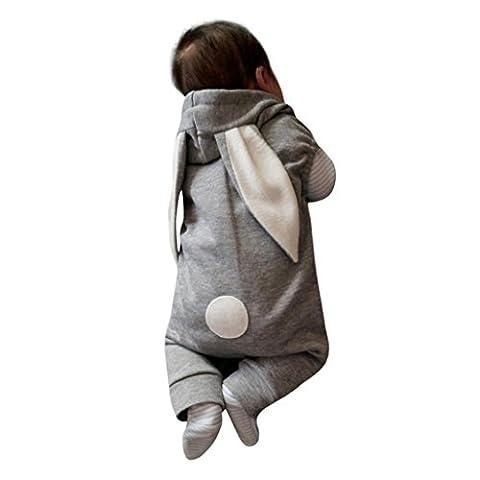 Bonjouree Barboteuses Bébé Garçon Manteau à Capuche Sans Manches Pour Bébé 0-24M (9-12 Mois, Gris)