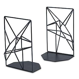 SRIWATANA Buchstützen Metall Schwarz Buchhalter für Regale, rutschfest, Geometrisches Design, 1 Paar