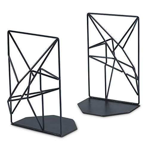 SRIWATANA Buchstützen Metall Schwarz Buchhalter für Regale, rutschfest, Geometrisches Design, 1 Paar (Geometrische Ordner)