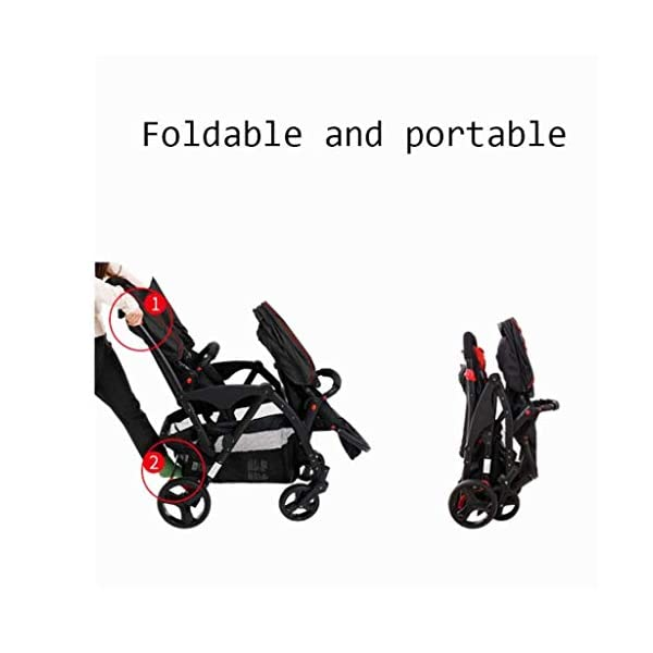 HZC Double Baby Stroller, Portable Folding Infant Pushchair with 5-Point Safety Harness, for Newborn and Toddler (Color : Gray) HZC Suitable for baby strollers from birth to 25 kg, made of high-quality aluminum alloy, each baby stroller is pressure tested to provide safety for every baby. Lightweight and compact Travel System ideal for everyday use or travel. One-hand fold mechanism lets you easily fold the pushchair. 3