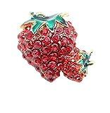 Photo de X-Z Broche Émaillée Feuille Verte Brochette de Fruits Rouges à la Fraise avec Strass pour Les Femmes, Filles, Foulard, Boucle, Épingles de Hijab par X-Z