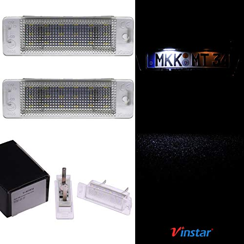 VINSTAR LED Kennzeichenbeleuchtung E-geprüft CAN-Bus 18 LEDs je Modul 6000 Kelvin Kompatibel mit OPEL Astra F 1992-1998, Calibra 1989-1997