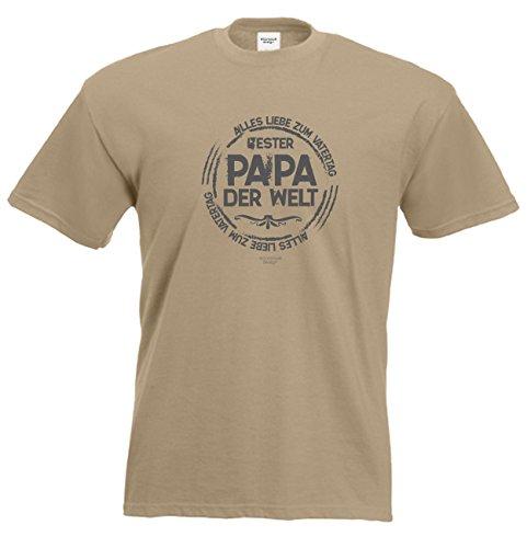 Vater-Tag Herren-Oberteil Geschenke Fun-T-Shirt Print-Motiv: Bester Papa der Welt Farbe: sand Sand