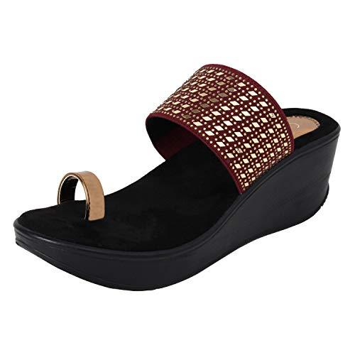 Catwalk Women's Maroon Wedge Sandals Fashion 4 UK/India (36 EU)(3673EE-4)