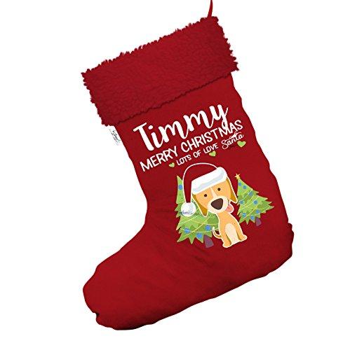 Weihnachten Hund mit Bäume personalisierbar Jumbo rot Santa Claus Weihnachten Strümpfe mit rotem Rand (Weihnachten Strumpf Hund)