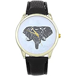 Mallom® New Arrival Women Elephant Printing Pattern Weaved Leather Quartz Dial Watch Black