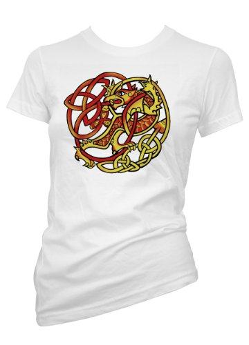 Fantasy Cetic Dragon Tribal 701654-T-Shirt da donna bianco X-Large