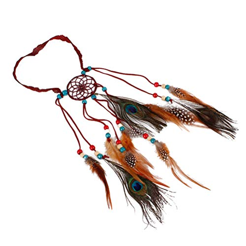 Lurrose - Diadema de Plumas Estilo Bohemio con diseño de atrapasueños, Accesorio para el Pelo de Pavo Real Hippie (Rojo Vino)