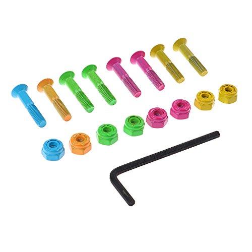 perfk Schrauben und Muttern mit Schraubenschlüssel set für Skateboard, Bunt (Skateboard Schrauben Und Muttern)
