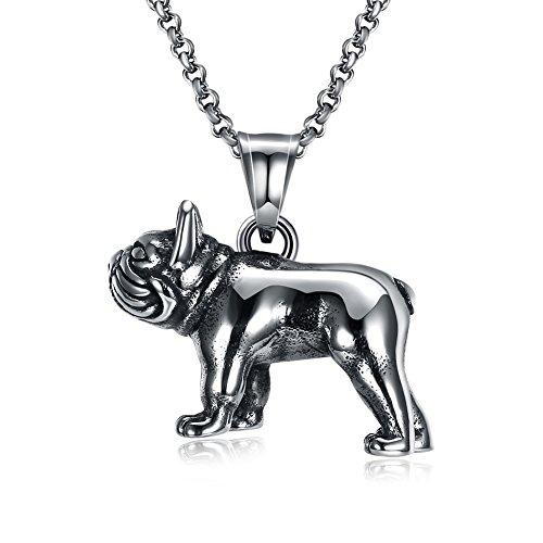 nk Stil Edelstahl Anhänger Halskette Anhänger Halskette Mode Persönlichkeit Halskette Hund Tier Titanium Stahl Halskette, antikes Silber ()