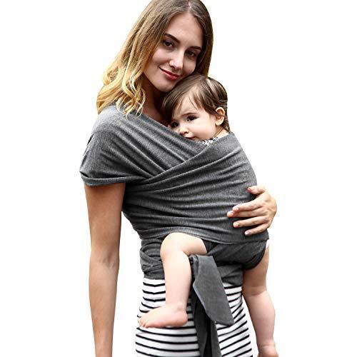 Babytragetuch Elastisch babytrage neugeborene ergonomisch babytrage hüftsitz Bio-Baumwolle 5.5 M Für Neugeborene und Babys ab Geburt bis 16 kg -Dunkelgrau