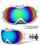 Premium Skibrille, Snowboardbrille Schneebrille 100% OTG UV-Schutz mit Rahmen Anti-Nebel, Helmkompatible Ski Goggles für Damen Und Herren/Jungen Und Mädchen