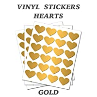 Set of 100 - Gold Heart Stickers - Removable Self Adhesive Waterproof Durable Vinyl Label Sticker 25mm each for School, preschool, Nursery & Home Activity by PARTY DECOR