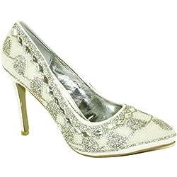 #4182 Damen Designer Schuhe High Heels Pumps Brautschuhe Strass Weiss 36-41 (37)