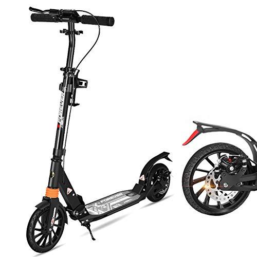 Roller- Heavy Duty Commuter Scooter für Jugendliche/Erwachsene - Faltbare 2-Rad-Tretroller mit Scheibenbremse, Nicht Elektrisch, 100 Kg Unterstützung (Color : Black) -