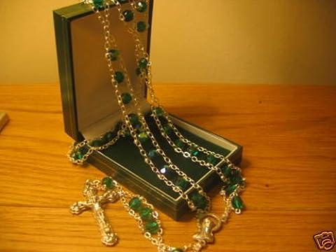 Grande sculpté en verre émeraude perles Rosaire chapelet Enfilade échelle