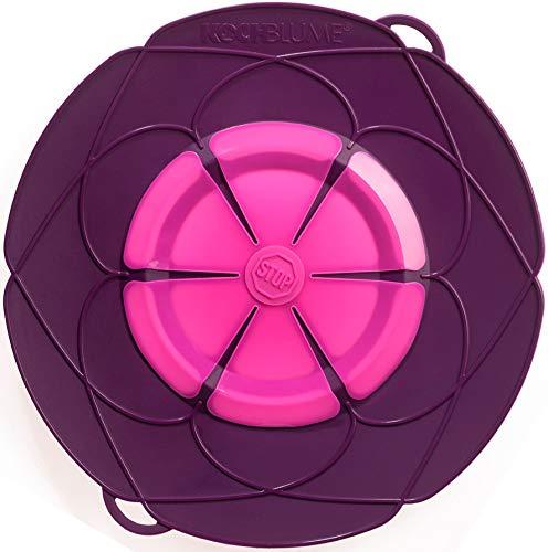 Kochblume vom Erfinder Armin Harecker XL 33 cm lila   Überkochschutz für Topfgrößen von Ø 20 bis 28 cm   Set mit Microfasertuch!