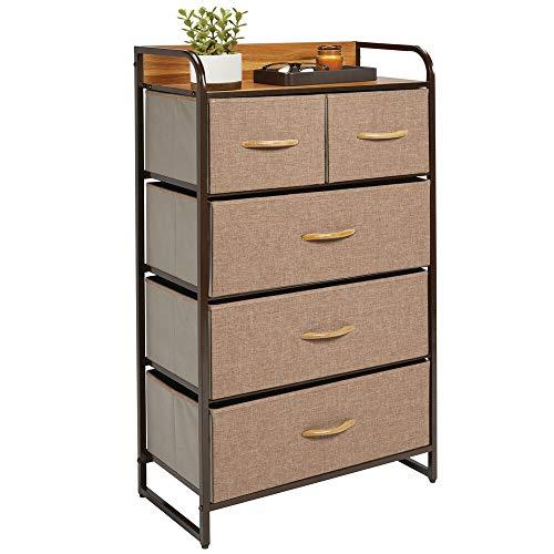 5 Schublade Schlafzimmer-kommode (mDesign Kommode mit 5 Schubladen - hoher Schubladenschrank für Schlafzimmer, Wohnzimmer oder Flur - Kleiderkommode aus Metall, MDF und Stoff - braun)