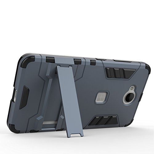 EKINHUI Case Cover 2 in 1 neue rüstung harter stil hybrid dual layer 'verteidiger pc - hard - fall stehen [stoßfeste fall] für nokia - microsoft lumia 650 ( Color : Blue Black , Size : Nokia Lumia 650 Gray