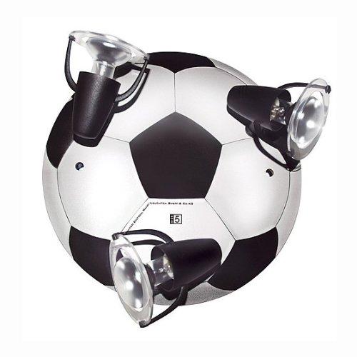 Waldi Leuchten Deckenstrahler Fußball Round Schwarz-weiß Weiß | 40W | 65271.0 - Fußball 40
