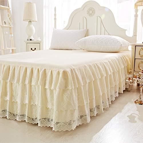 Spitze Bett Rock, Bett Volant Bestickt Tagesdecke Mit rüschen Hotel qualität Faltenresistent und ausbleichen beständig-beige 200x220cm/79x87inch (Tagesdecke Mit Dem Bett-rock)