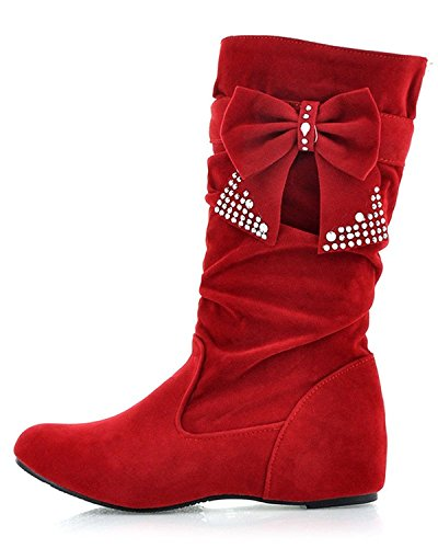 3 Tie Lace Up Schuh (Minetom Damen Winter Warme Bowknotdekoration Stiefeletten Mit Strass Mode Schuhe (EU 39, Rot))
