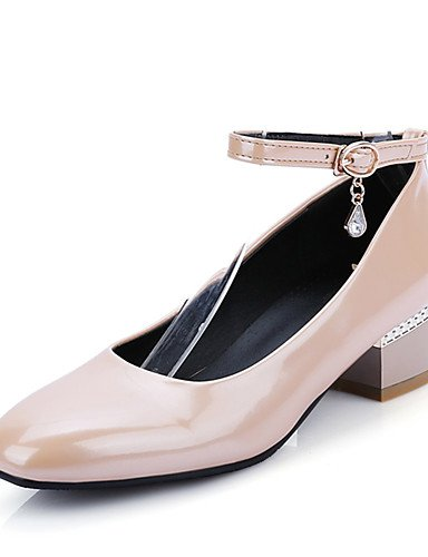 WSS 2016 Chaussures Femme-Habillé / Décontracté-Noir / Rouge / Blanc / Amande-Gros Talon-Escarpin Basique / Bout Carré-Talons-Cuir Verni white-us3.5 / eu33 / uk1.5 / cn32